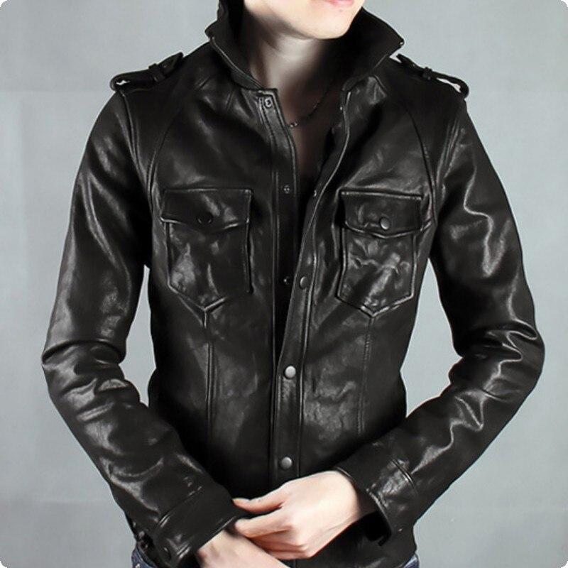 Nett 2019 Neue Ankunft Britischen Stil Herren Schaffell 100% Echt Leder Jacke Einreiher Taschen Männlichen Mantel Mode Motorrad In Vielen Stilen
