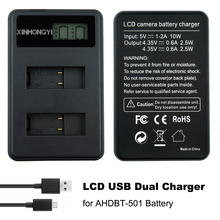 AHDBT-501 Battery Hero5 Hero7 Charger USB LCD Display Dual For GoPro hero6 7 bateria actio Camera Accessories