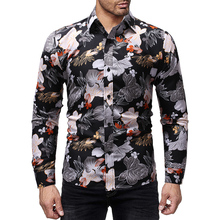good quality 2019 new brand long sleeve floral mens patterned shirts slim fit casual hawaiian shirt for men