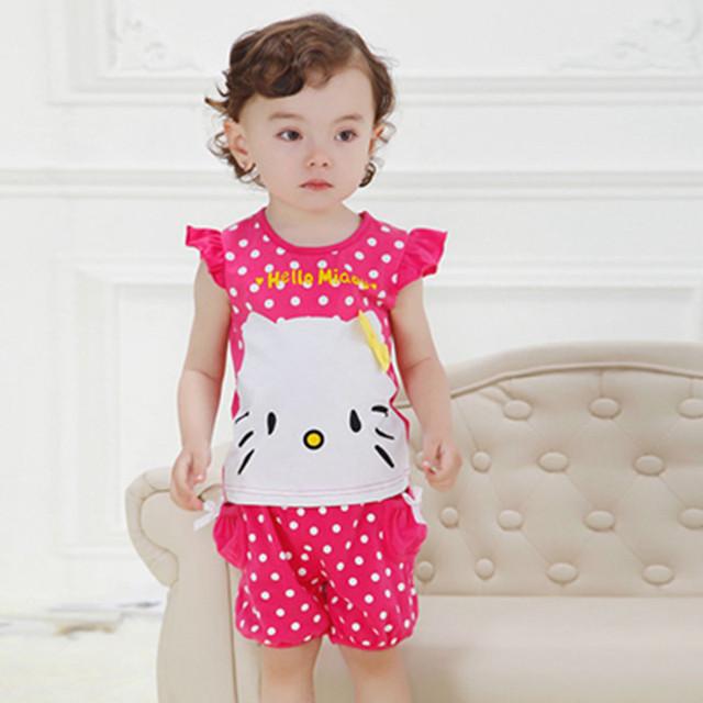Moda de verano niña que arropan algodón del patrón del gato corto manga + los pantalones de ropa 0-3 años de cabritos arropa sistemas