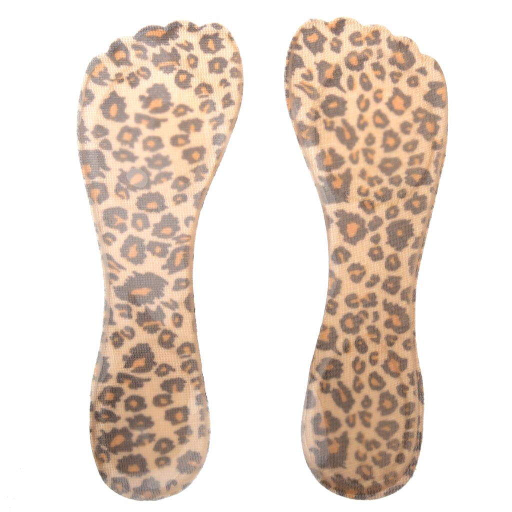 TEXU-1 Pair Silicone Heeled Shoes Insoles Adhesive Pads - Leopards texu practical pair beige foam front pads cushion holes design shoes half insoles