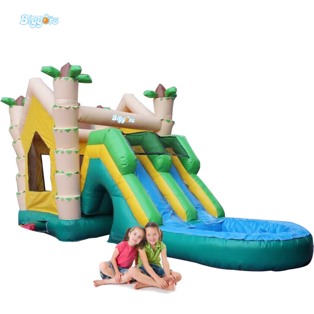 New Product Inflatable Water Slide With Pool On Sale jungle commercial inflatable slide with water pool for adults and kids