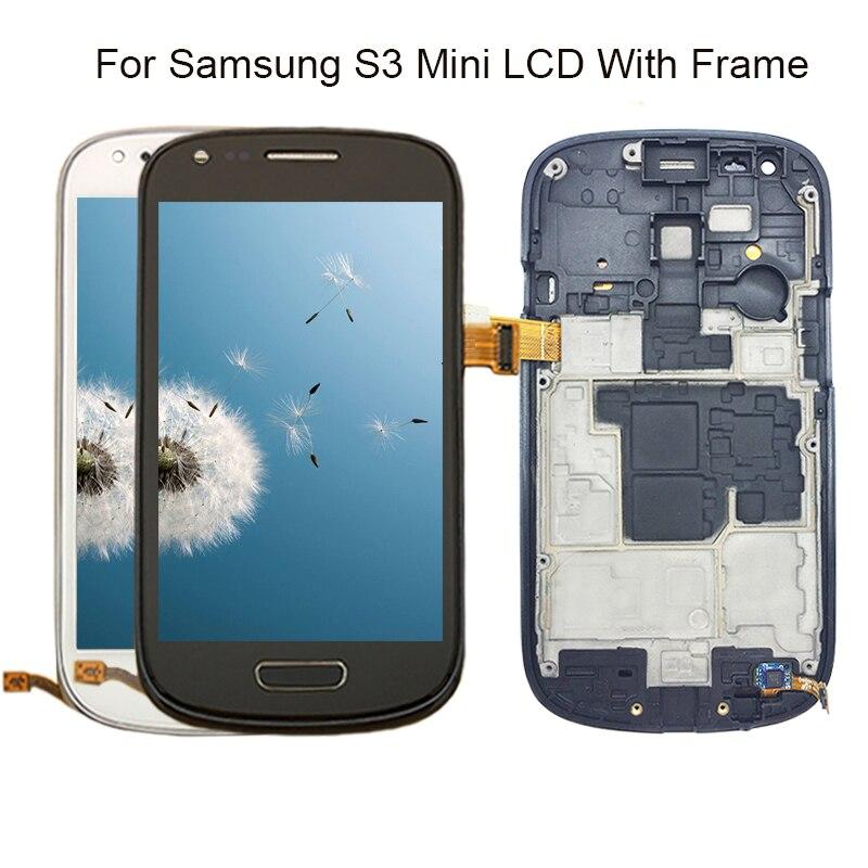 100% garantía Super AMOLED para Samsung Galaxy S3 Mini i8190 i8195 i8190N pantalla LCD pantalla táctil digitalizador con marco de la Asamblea