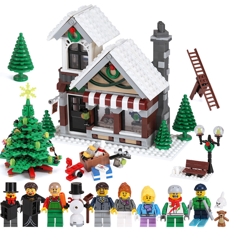 LEPIN 36002 1005Pcs Cinderella's Christmas Hut Winter Toy Store 10249 Creative Series legoinglys Building Blocks Toys Model lepin 36002 1005pcs street view series winter toy store christmas model building blocks set bricks toys for children gift 10249