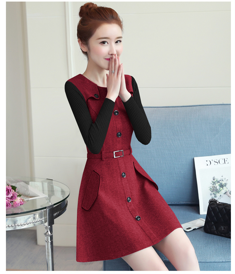 winter new round collar single-breasted cloth dress belt buttons A word women dresses Korean fashion outfit lady vogue vestido 15