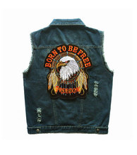 New Arrival Men's Denim Vest Brand Jeans Vest Men Cowboy Vest Denim Sleeveless Jacket Motorcycle rider jacket Plus Size