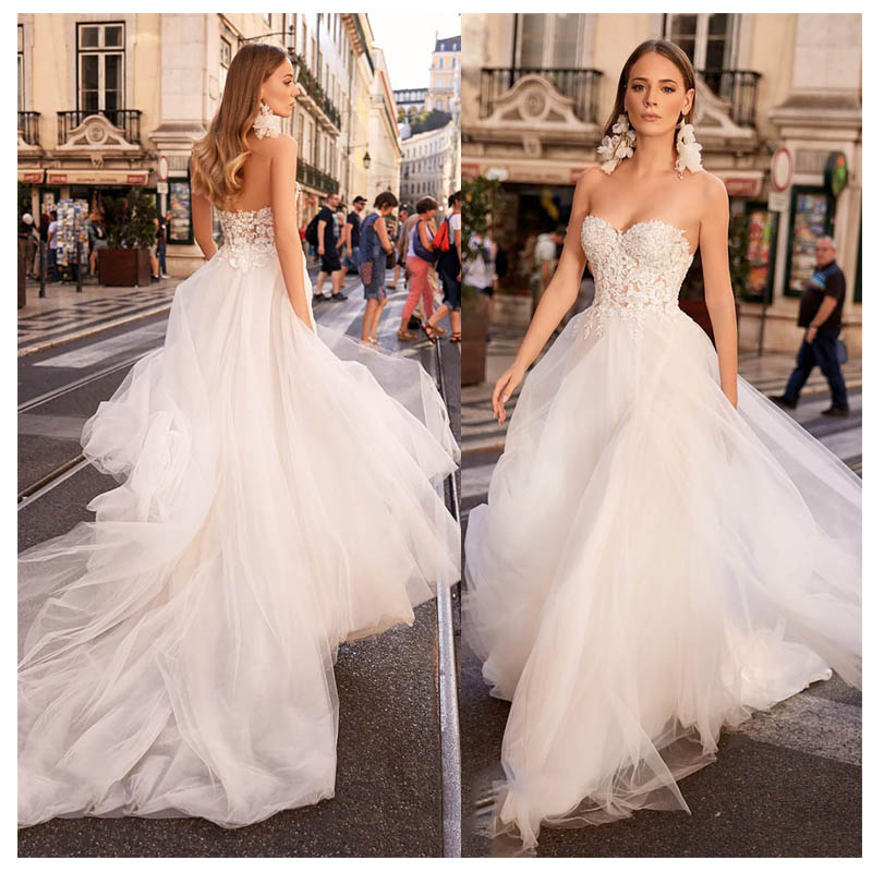 LORIE Sexy Beach Wedding Dress Strapless Appliques Boho Bride Dress Backless Sweetheart Floor Length Chiffon Wedding Gown