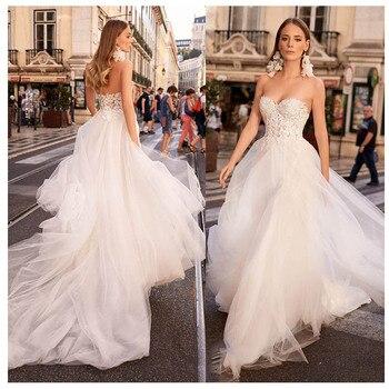 LORIE Sexy Beach Wedding Dress Strapless Appliques Boho Bride Dress Backless Sweetheart Floor Length Chiffon Wedding Gown