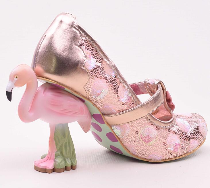 Super Gergous Pink Flamingo Heel Women Round Toe Pumps Elegant Pink/Green Lace Ladies Fashion Mary Jane Cute Bow High Heels 42 xdzs 260 elegant pink flamingo print art