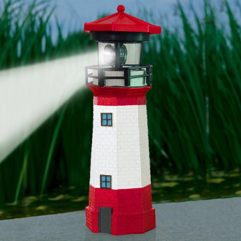 Solar Powered Lighthouse With Rotating Lamp Bulb Garden Ornament Patio Light TN99