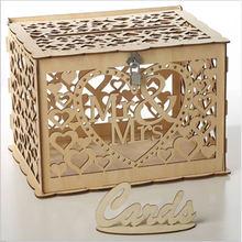 Mr Mrs коробка для свадебных открыток украшения для детского душа винтажная коробка для карт с замком DIY коробка для денег деревянные подарочные коробки для дня рождения