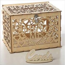 Mr Mrs коробка для свадебных открыток украшения для детского душа винтажная коробка для карт с замком DIY коробка для денег деревянные подарочн...