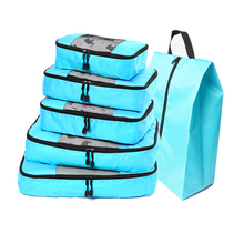 QIUYIN Packing Cubes 5-Pcs Travel Organizer Accessories with Shoe Bag (Grey)(Red)(Green)(Violet)(Black)(Blue)
