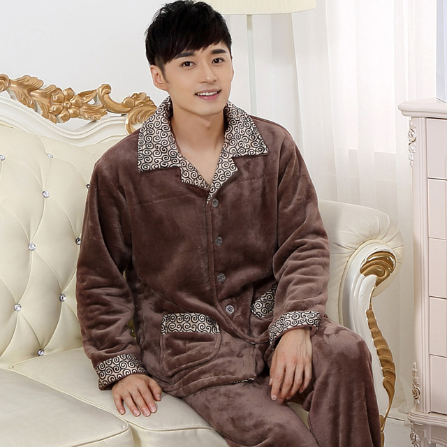 Coral de invierno Polar Sueño Espesar Conjuntos de Pijamas Para hombres y Salón de la ropa Pijamas Suaves Manga Larga Botón Tops y Pantalones F9