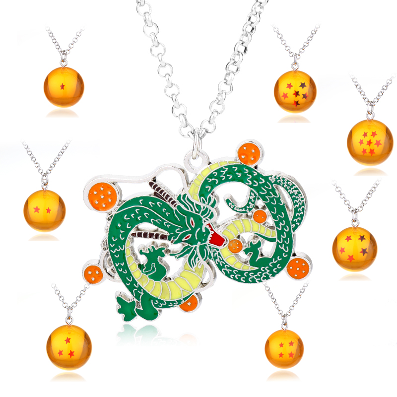Japanese Anime Necklace Men Women Jewelry shenron Realize your wishes pvc 1-7stars Ball Pendants Necklaces