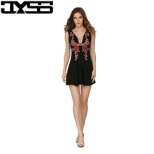 JYSS New arrival Sexy Summer Women Camis Dress Deep V-neck Backless Embroidery dress Black white Flower Empire Mini dress 80823