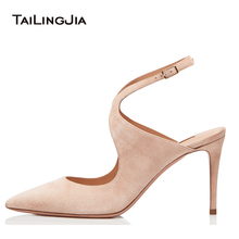 цена Pointed Toe High Heel Slingbacks Women Nude Elegant Heeled Pumps Bridal Wedding Dress Shoes Ladies Summer Heels Big Size 2018 онлайн в 2017 году