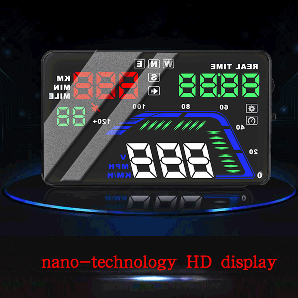 Voiture HUD GPS affichage tête haute 5.5 pouces coloré tableau de bord LED projecteur système d'avertissement de vitesse DXY88