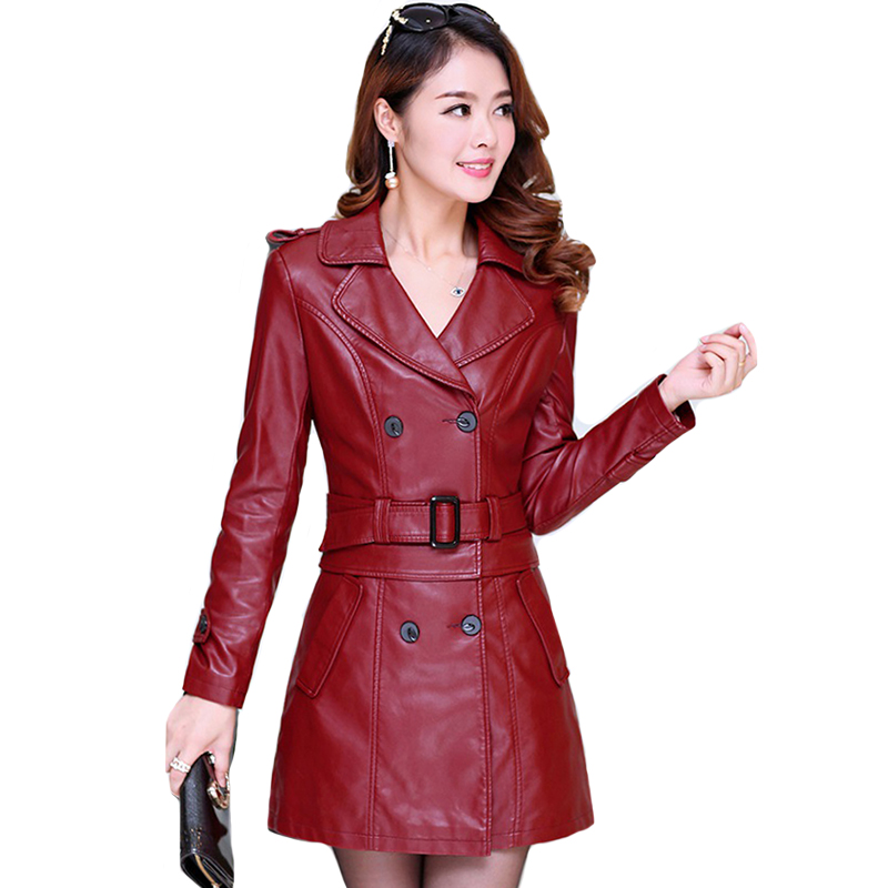 Turn-down Collar Women Autumn Faux   Leather   Jacket Wine Red With Belt Elegant Office Ladies Coat Outwear Long Slim Jackets