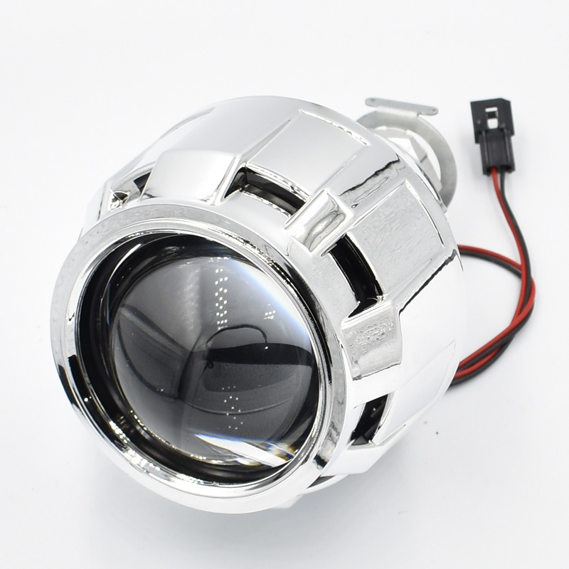 2 5 quot Hid Bi xenon Projector Lens With Mini Shroud Gatling Gun Cap For Cars Motorcycle Headlight H7 H4 Car Styling in Car Light Accessories from Automobiles amp Motorcycles