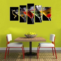 Canvas Wall Art 5 Panels Cocktail Wine Painting Fresh Blackberry With Glass Picture Prints Still Life