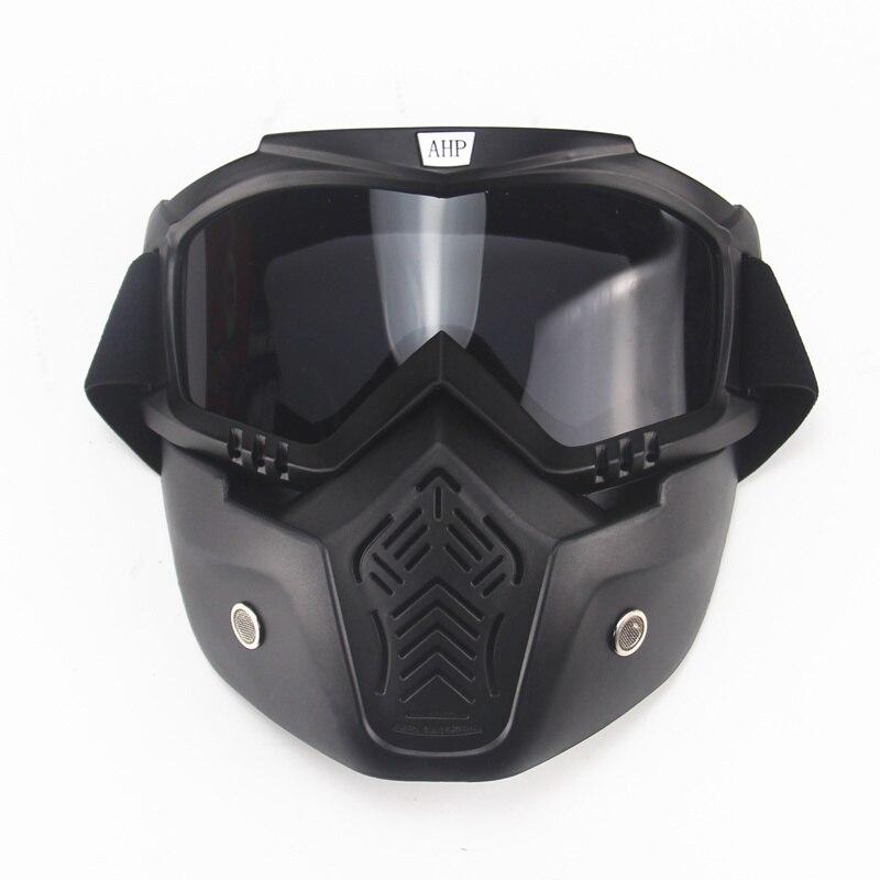 Motocross Modular Mask Avtagbar skyddsglasögon och munfilter Perfekt för öppen ansiktsmotorcykel Halvhjälm eller Vintagehjälmar