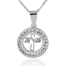 New Fashion Luxury Silver Color Zircon Crystal Jesus stainless steel Pendants Necklaces Jewelry For Women  X-975