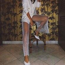2019 summer mesh party sexy club pants women Diamond Fishnet see through split black pants sexy white see through fishnet playsuits