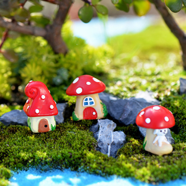 Attrayant 1 Pcs Miniatures Cottage Shabby Red Mushroom House Fairy Garden Gnome Moss  Diy Crafts Terrarium Decor