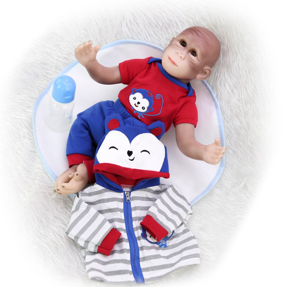 46 cm cotton body silicoen reborn Monkey baby doll girls and boy toy Realistic Newborn Alive Bebe reborn With soft plush toy in Dolls from Toys Hobbies