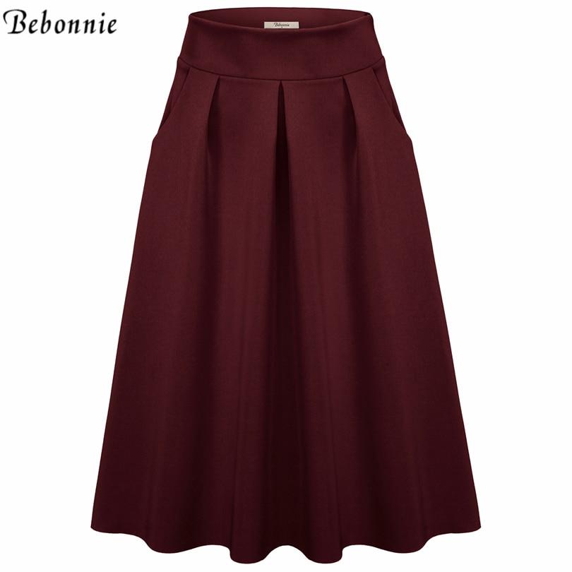 2017 New Fashion Black Skirts Womens High Waist Skirts Plus Size ...