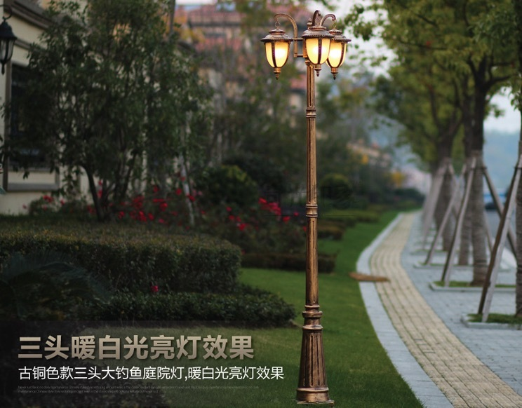 2 Heads/3 Heads Europe Garden Outdoor Lighting Poles Black/bronze Classical Outdoor  Pole Lamp 2M/2.5M/2.9M Aluminum AC 100 240V In Street Lights From Lights ...