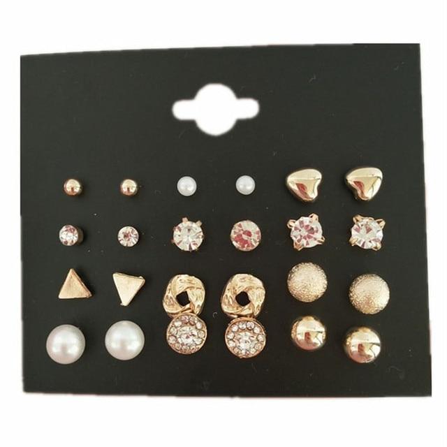 MissCyCy Fashion 12 pair/set Women Square Crystal Heart Stud Earrings for Women Piercing Simulated Pearl Flower Earrings