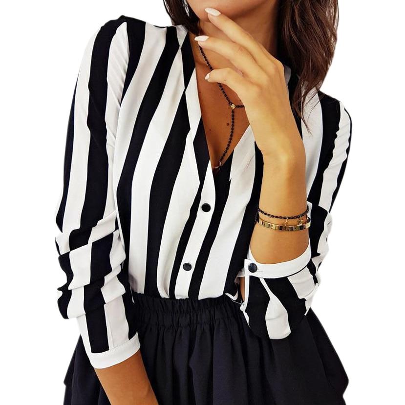 Striped Chiffon Long Sleeve Shirts Elegant Office Tops
