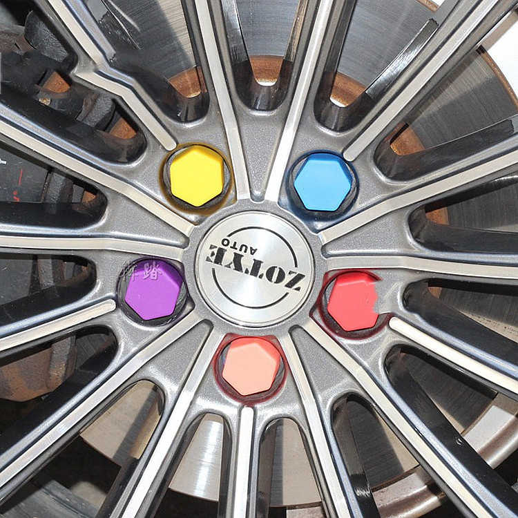 20 stks/pakket 17/19/21mm Siliconen Zeskant Auto Wiel Hub Schroef Cover Moer Caps Bolt Velgen exterieur Decoratie Bescherming