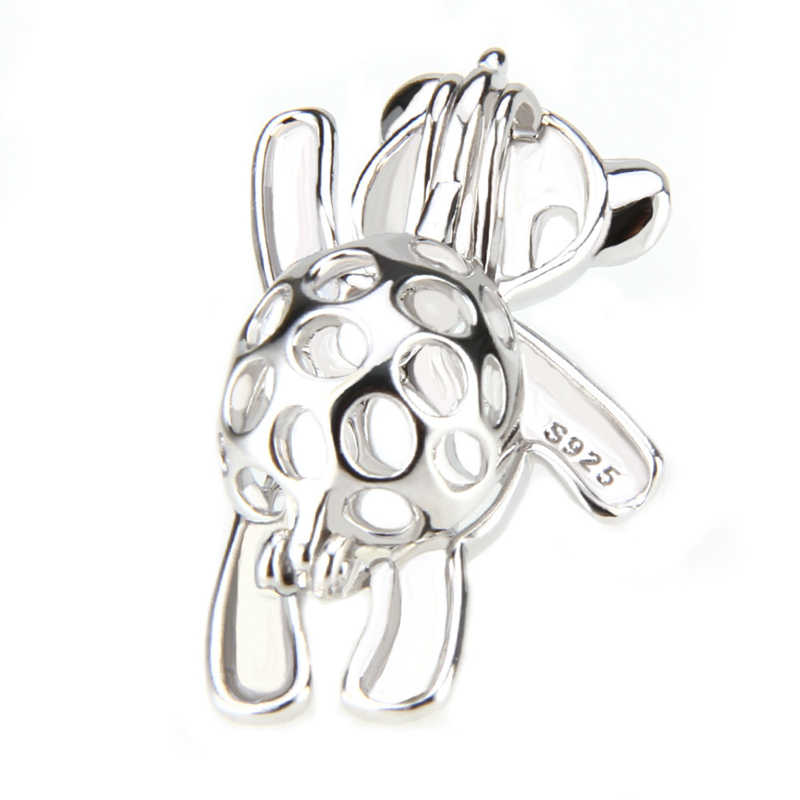 CLUCI Dancing Bear Cage Pendant 925 Sterling Silver Pearl Locket for Women Jewelry Making 925 Silver Charms Pendant