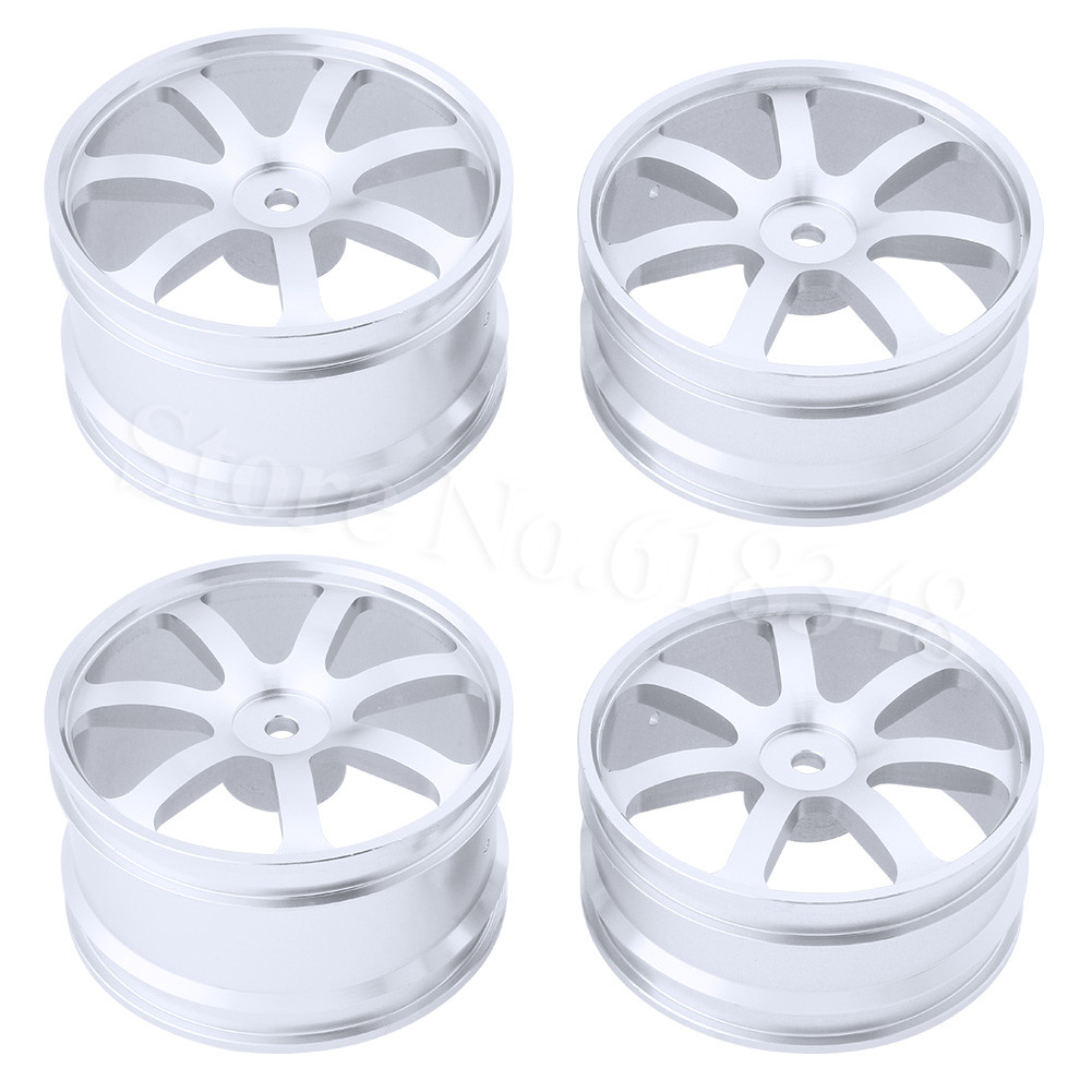 4PCS Front & Rear Aluminum Wheel Rims 12mm Hex Hub Diameter:62mm 7 Spokes CNC For HSP Redcat Exceed RC 1/10 Off Road Buggy 1 pair hsp 106019 aluminum front lower suspension arm 06011 for 1 10th upgrade parts off road buggy warhead fit redcat