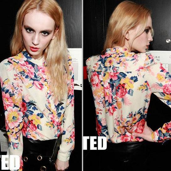 Moda 2014 Floral impressão blusa mulheres chiffon plus size mulheres saia de manga comprida Tops 2 cores RS 2086