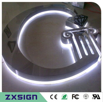 Factory Outlet waterproof stainless steel back lit signs, outdoor back illuminated metal LED shop sign letters,halo lit signages