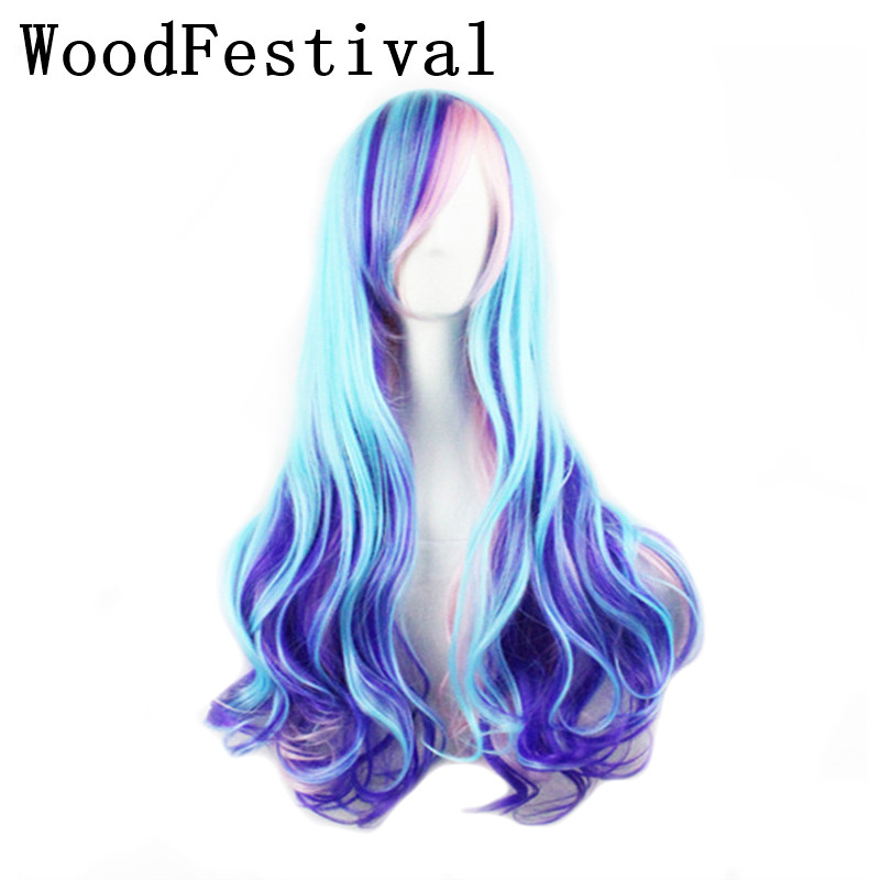 WoodFestival Rainbow Colored Wavy Wigs For Women Heat Resistant Cosplay Long Synthetic Wig With Bangs