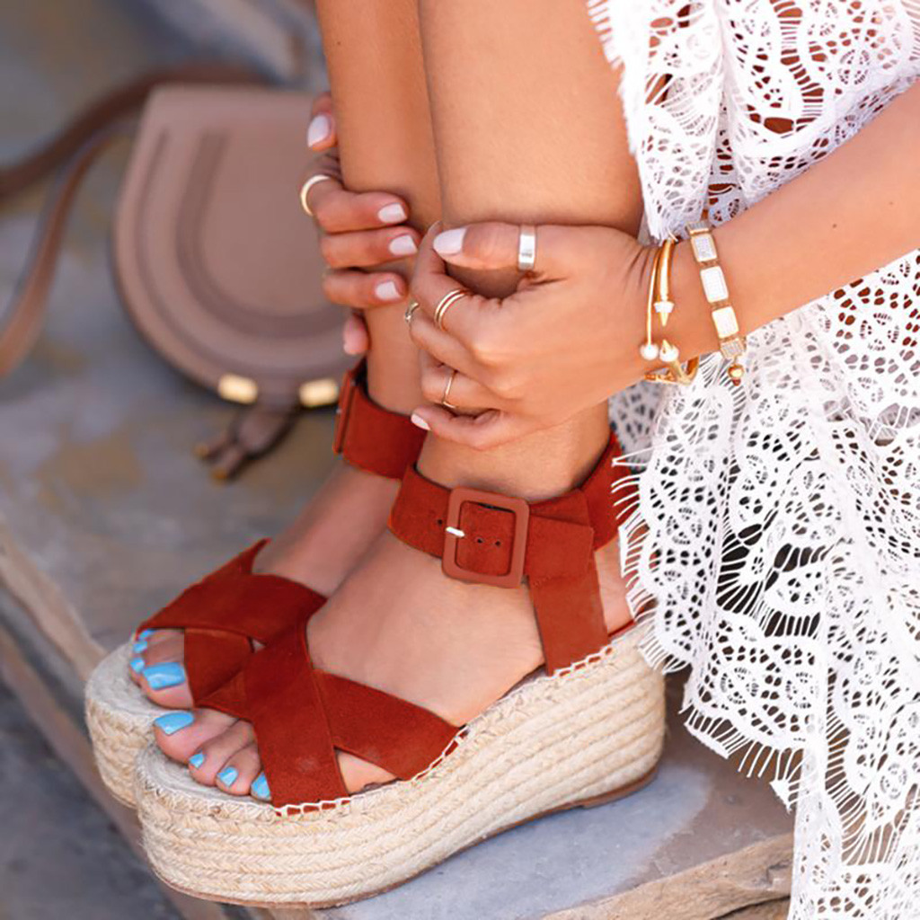 Sandals Women Ladies Fashion Solid Wedges Casual Buckle Strap Roman Shoes Sandals Soft Bottom Comfortable Zapatos De Mujer