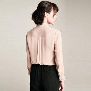 Image 4 - بلوزة من الحرير الثقيل لعام 100% ، بلوزة أنيقة بتصميم بسيط بأكمام طويلة ، بلوزة للعمل المكتبي ، تصميم جديد رائع لعام 2018