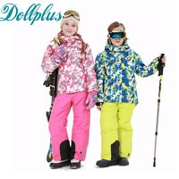 New Russian Winter Girls Ski Suit Windproof Girls Ski Jacket Bib Pants 2 Pcs Children Snow