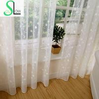Slow Soul Beige White Light Brown Color Embroidered Curtains Pastoral Curtain Tulle For Living Room Kitchen