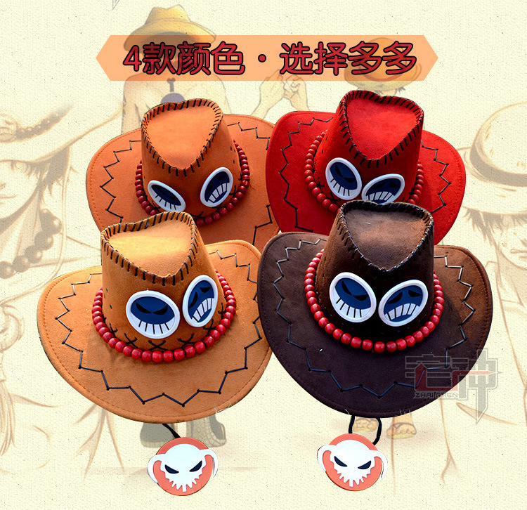 One Piece anime cosplay hats Portgas. D.  Ace pirate hat The cowboy hat Hight quality chapeu