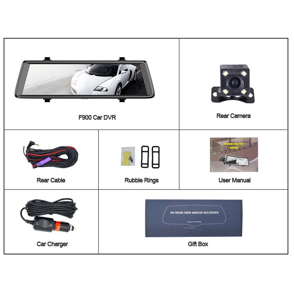 Car DVR Camera 10 Inch Screen 1080P With Rear View Mirror Driving Recorder Belt Car Camera Recorder In Dash Camera Accessories цена