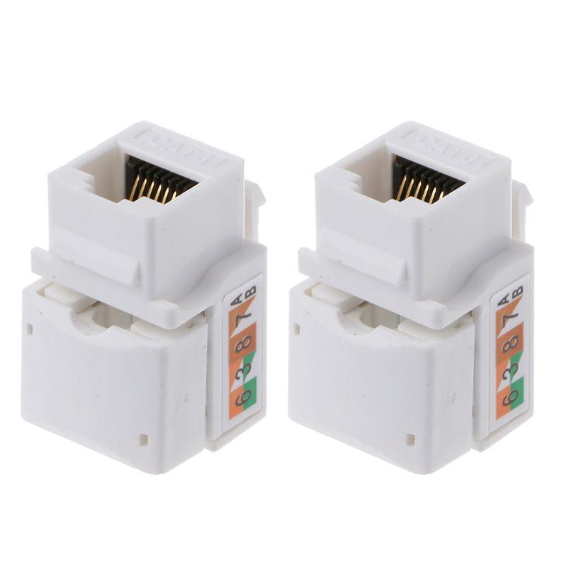 2Pcs CAT6 Network Module Information Socket RJ45 Connector Adapter Keystone Jack