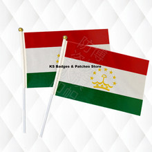 Tajikistan Flags 14*21CM with Plastic Hand Held(China)