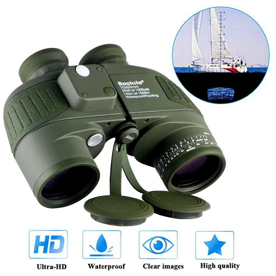 Military Waterproof Binoculars Boshile 10x50 Navy Telescope Binocular with rangefinder and Compass Fully Multi coated Lens