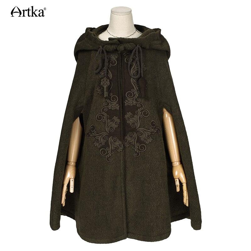 ARTKA de invierno de las mujeres nuevo Vintage lana cálida Sudadera con capucha capa abrigo bordado de la gota-hombro manga Cabo de lana prendas de vestir exteriores WA10220D - 3